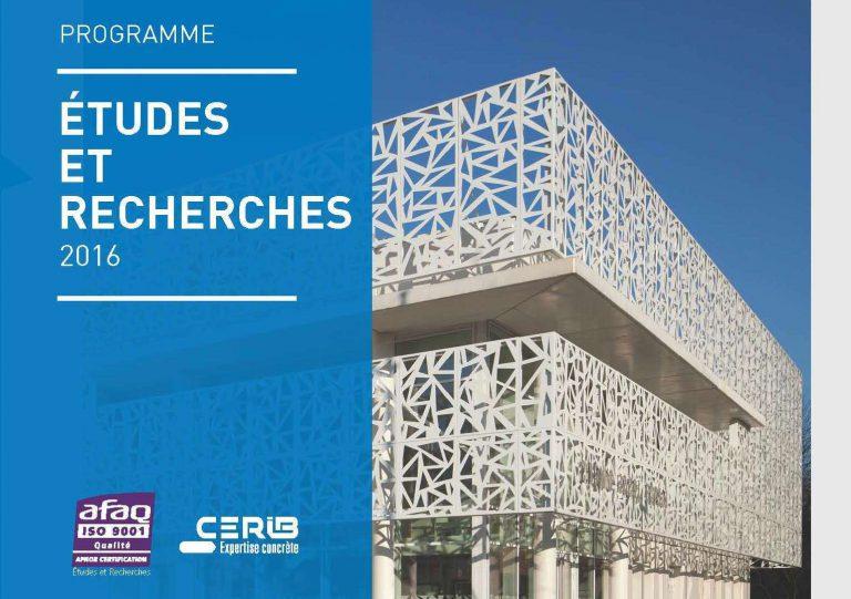 Etudes et Recherches - Programme E&R 2016 du Cerib