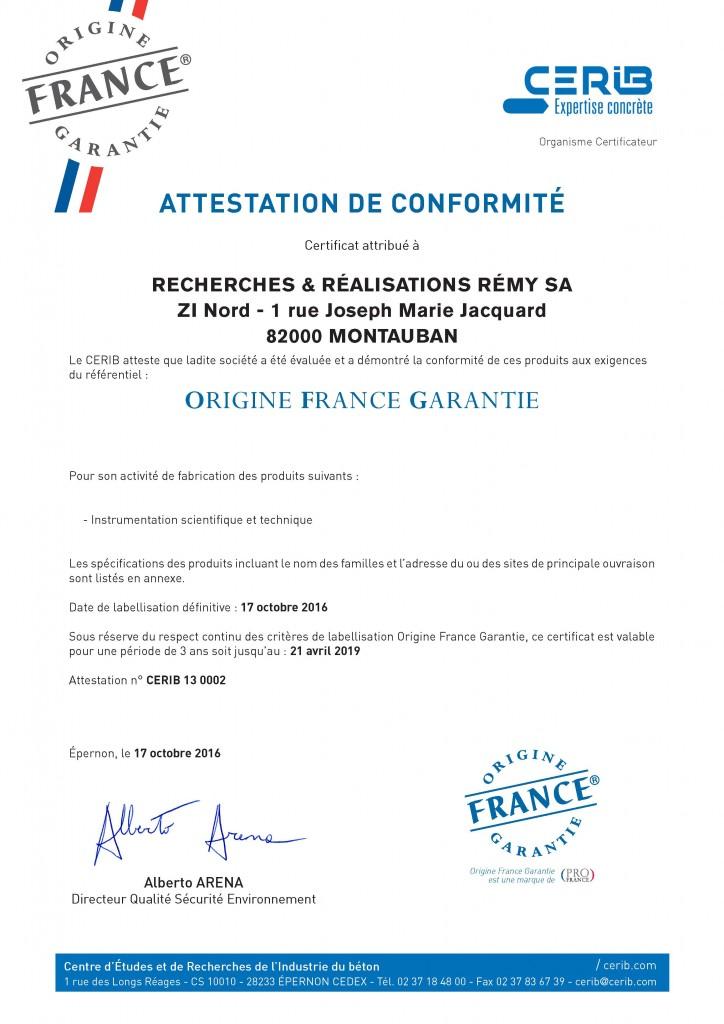 Certificat Cerib - Label OFG 3R - Recherches & Réalisations Rémy