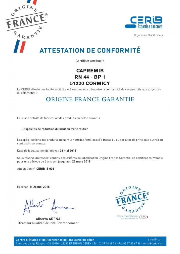 Certificat Label OFG Capremib