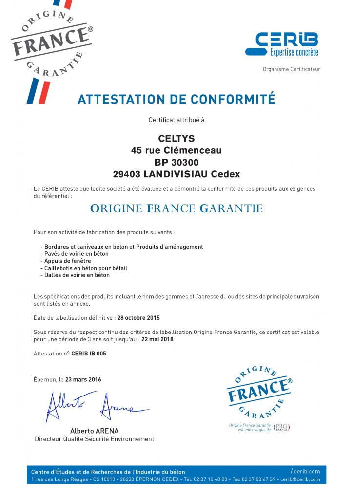 Certificat Label OFG Celtys