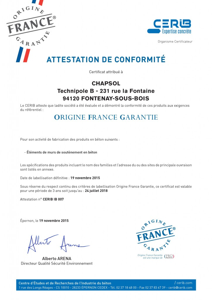 Certificat Cerib - Label OFG Chapsol