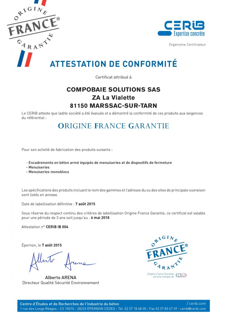 Certificat Cerib - Label OFG Compobaie