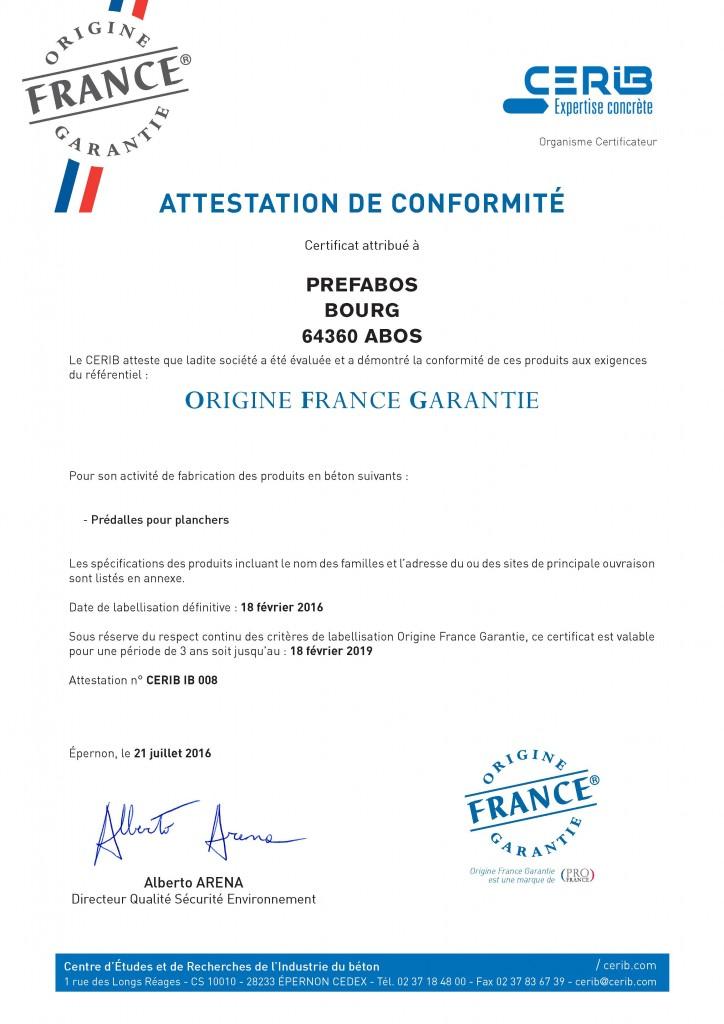 Certificat Cerib - Label OFG Prefabos