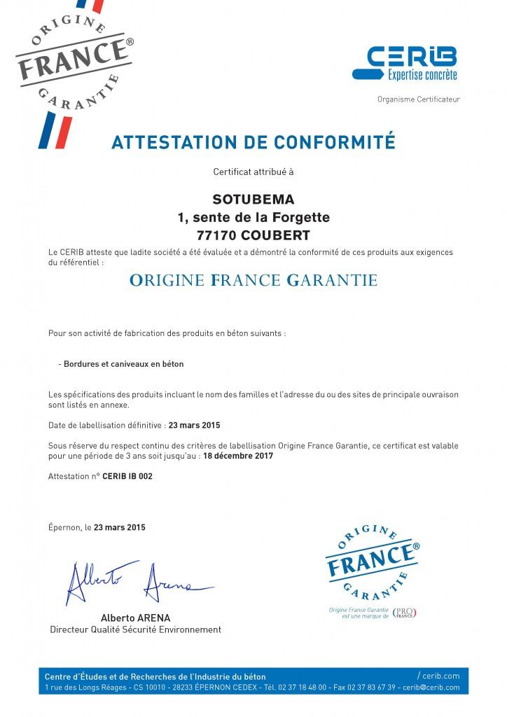 Certificat Cerib - Label OFG Sotubema