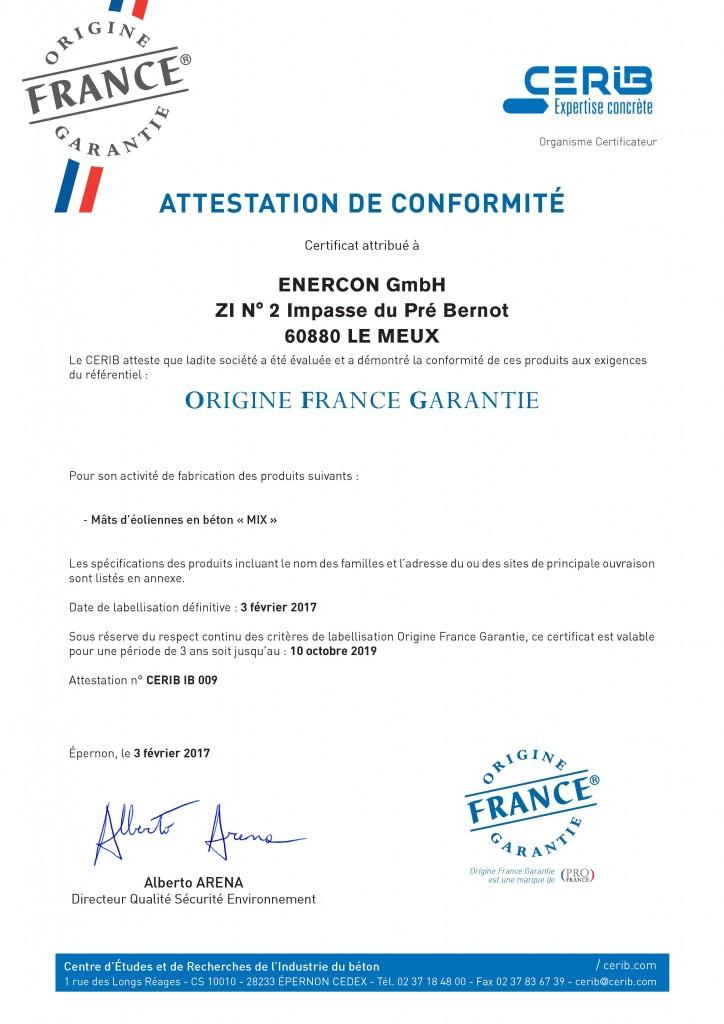 Certificat Cerib - Label OFG Enercon