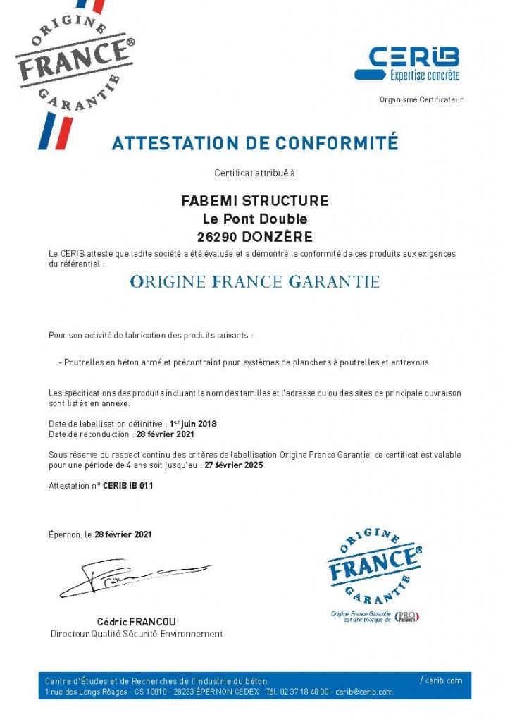 2021_Certificat CERIB_OFG_definitif_FABEMI Structure_Page_1