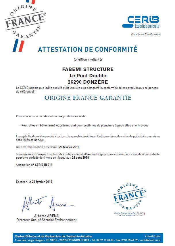 Certificat CERIB_OFG(2018)FABEMI Structure_Page_1