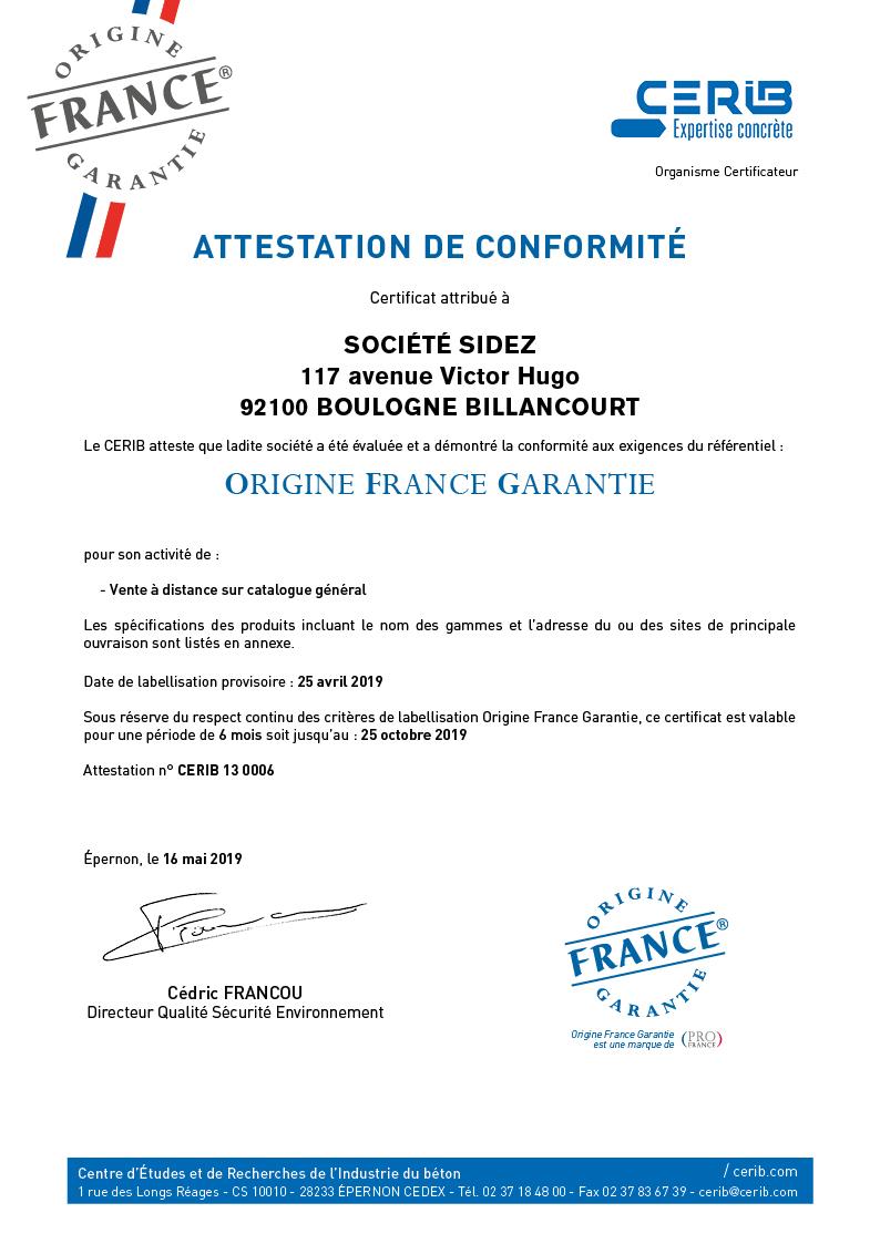 Certificat CERIB_OFG(2019)SIDEZ