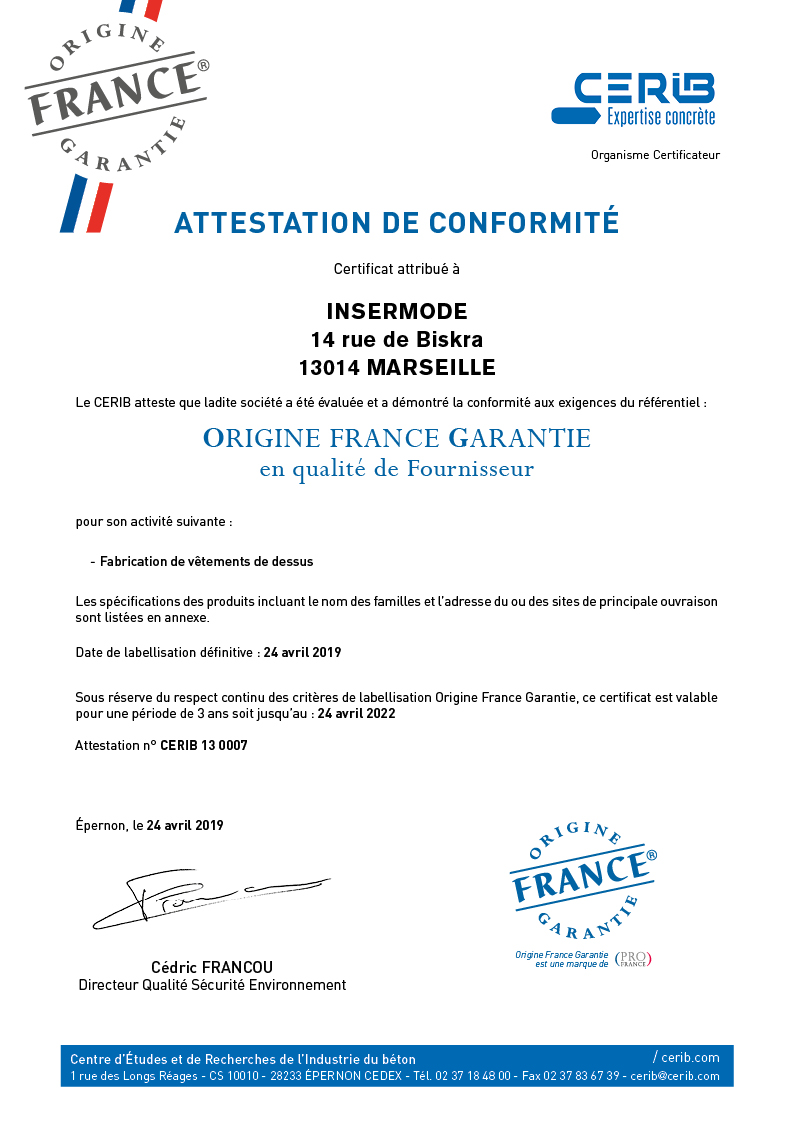Certificat CERIB_OFG(2019)INSERMODE