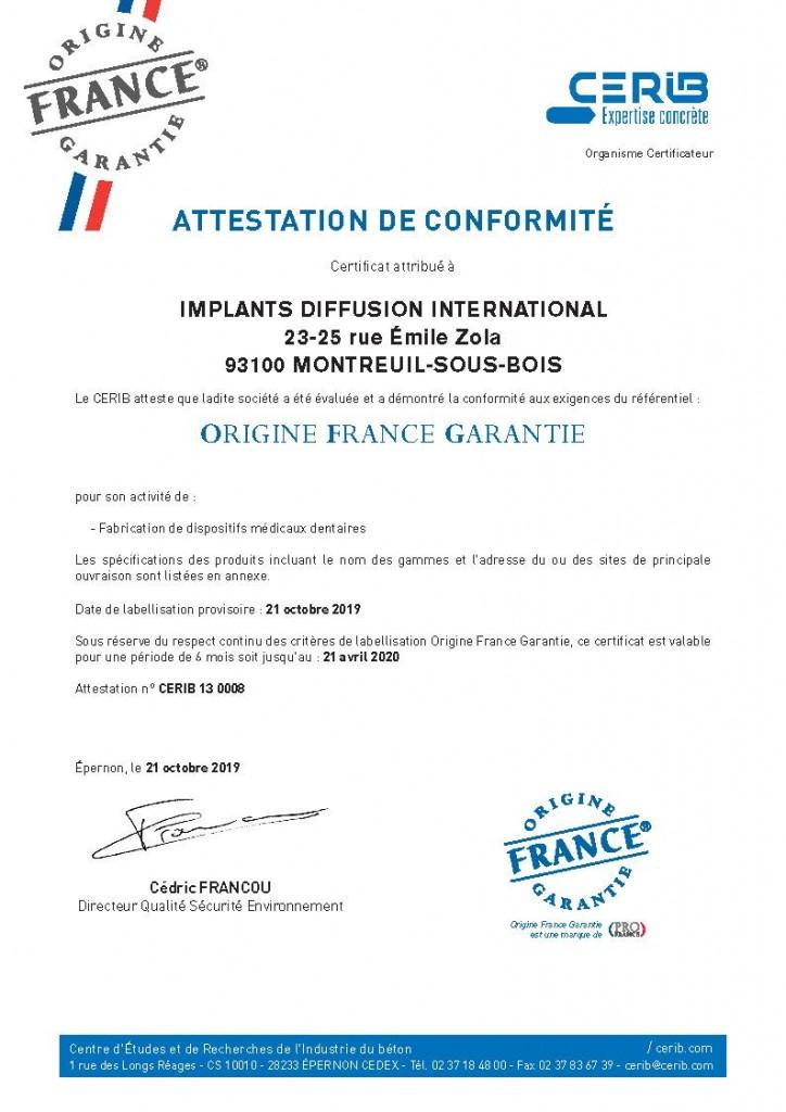 Certificat CERIB_OFG_IMPLANTS DIFFUSION INTERNATIONAL_BD_Page_1