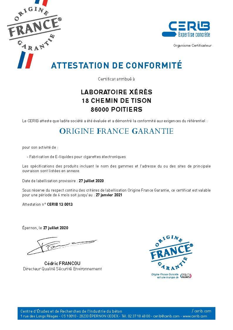 Certificat CERIB_OFG_Laboratoires XERES_BD_Page_1