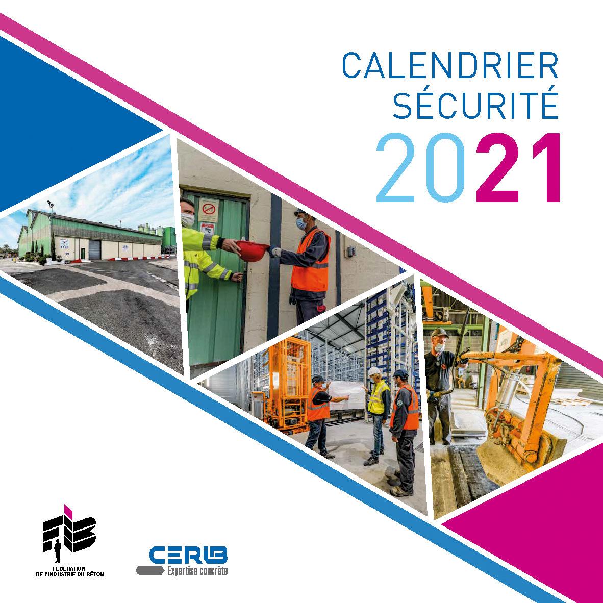 page de couverture du calendrier sécurité 2021